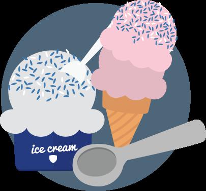 Ice cream bowl and cone illustration