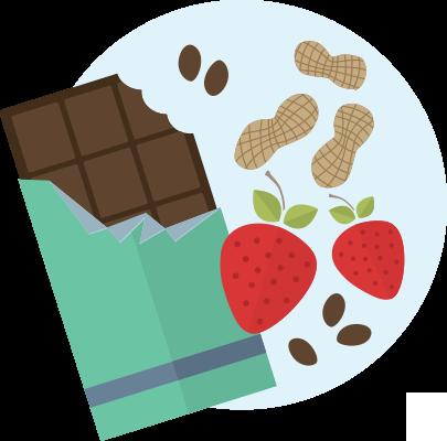 Chocolate, peanuts, strawberries illustration